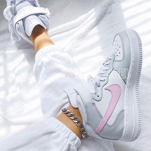 Nike custom air force 1 mid light grey baby pink
